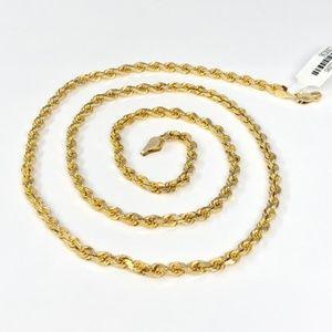 14K Yellow Gold 23.5 Inch Rope Chain